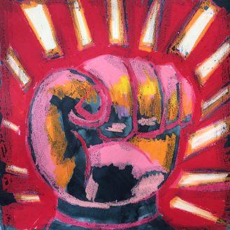 Resist! neopastels, watercolor